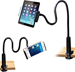 FeelPower Cell Phone Stand Holder, Tablet Clip Holder,Long Arm Gooseneck Flexible Lazy Bracket for ipad/iPhone X/8/7/6/6s Plus Samsung S8/S7 Mount for Desktop Bedroom, Office, Bathroom, Kitchen.