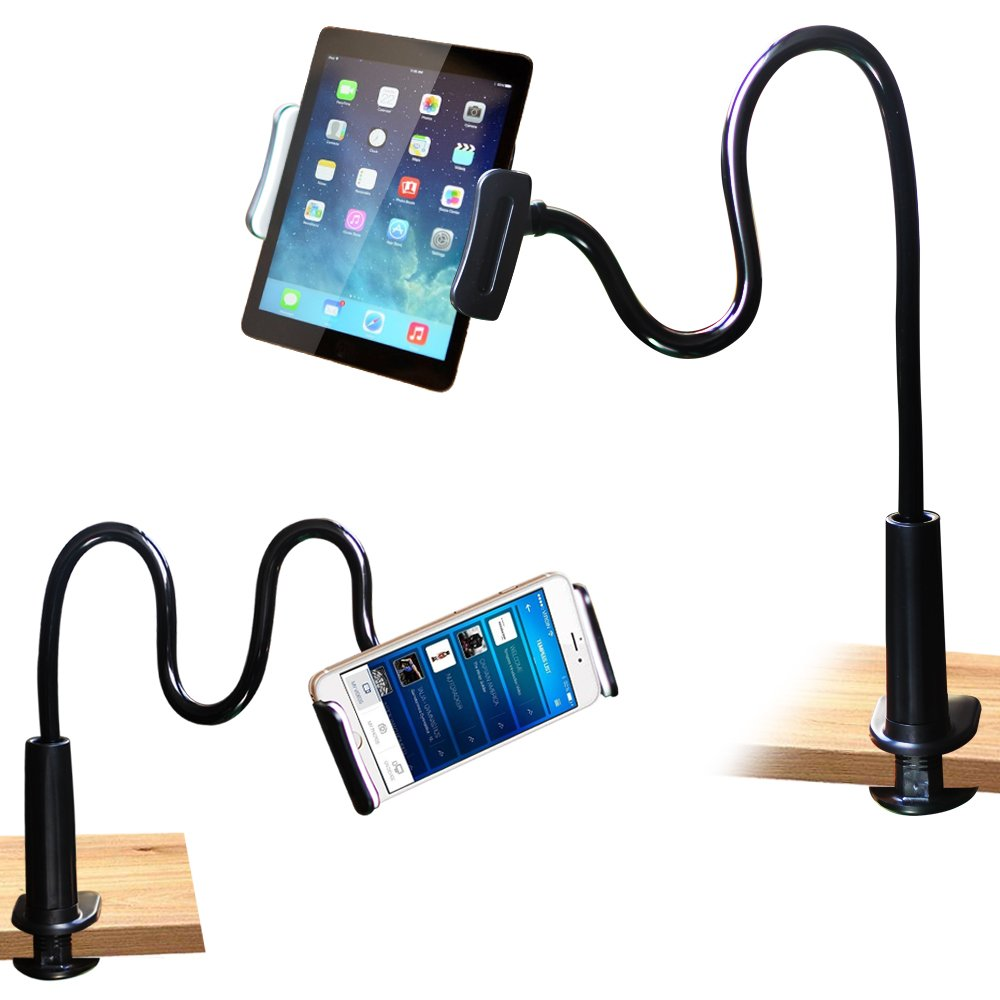 FeelPower Cell Phone Stand Holder, Tablet Clip Holder,Long Arm Gooseneck Flexible Lazy Bracket for ipad/iPhone X/8/7/6/6s Plus Samsung S8/S7 Mount for Desktop Bedroom, Office, Bathroom, Kitchen. by FeelPower