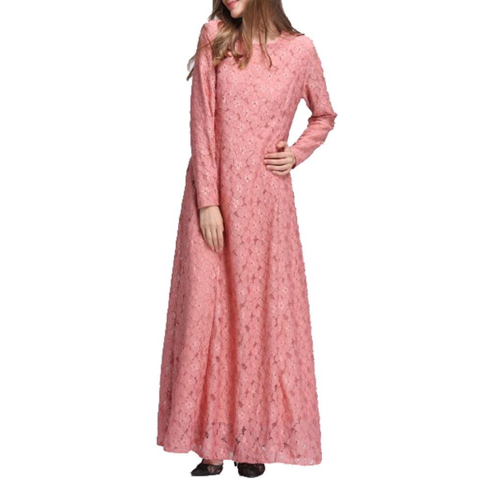 Rucan Women Muslim Kaftan Abaya Jilbab Long Sleeve Lace Long Maxi Dress (A, Medium)