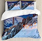 Winter Duvet Cover Set King Size by Ambesonne, Majestic Winter Sunrise Landscape and Ski Resort Spruce Pine Forest French Alps, Decorative 3 Piece Bedding Set with 2 Pillow Shams,