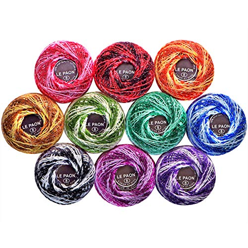 Crochet Cotton Metallic Crochet Thread Size 8 (10-Pack) 10 Variegated Colors Total 436 Yards Knitting Balls Yarn Tatting Doilies Assorted Skeins Lacey Craft Thread ()