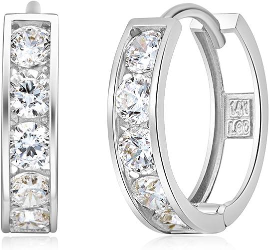 Ladies Womens 14k White Gold Polished Fancy Earring Jackets 7mm x 7mm