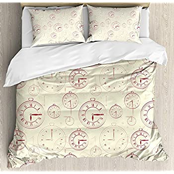 Image of Clock Luxury 4 Piece Bedding Set Full Size, Vintage Watches with Roman Digits Antique Machine Time Pattern Illustration, Duvet Cover Set Quilt Bedspread for Kids/Teens/Adults, Pale Yellow Magenta Home and Kitchen