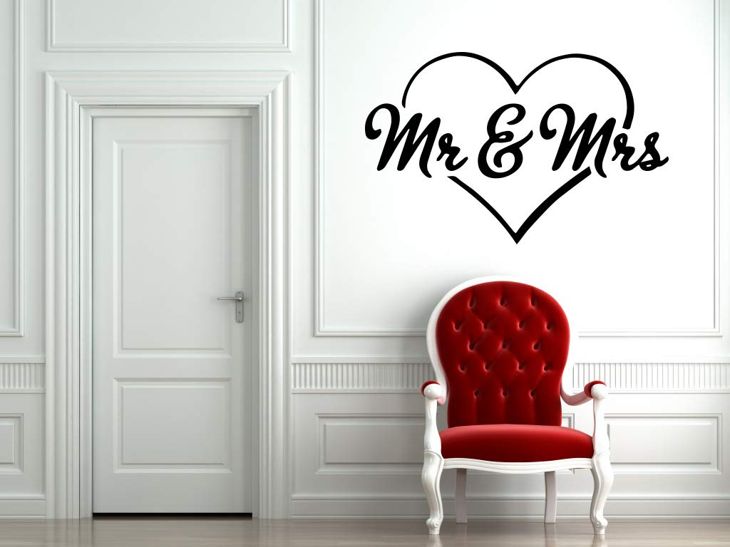 And Mrs Wall Sticker Mr Wedding Marriage Heart Love Phrase Vinyl Mural Decal Art Decor EH4238