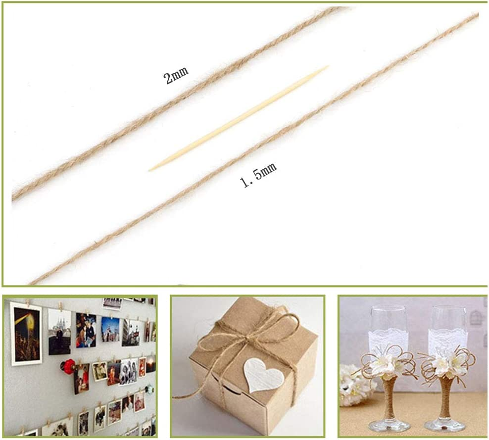 AIYAYI 328 Feet 2mm3 ply Natural Jute Twine Best Arts Crafts Gift Twine Christmas Twine Durable Packing String for Gardening Applications