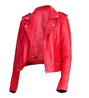 0840a04c3a1 Womens Slim Fit Biker Red Leather Jacket with The Snake Gang Logo on ...