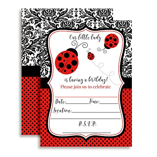 Red Polka Dot Ladybug Birthday Party Invitations for Girls, 20 5