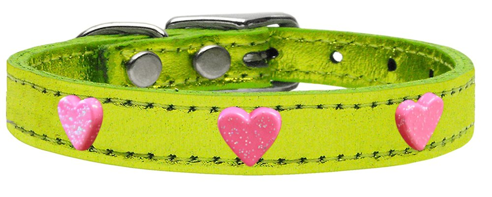 Mirage Pet Products 83-78 LgM18 Pink Heart Widget Genuine Metallic Leather Dog Collar Lime Green, Size 18