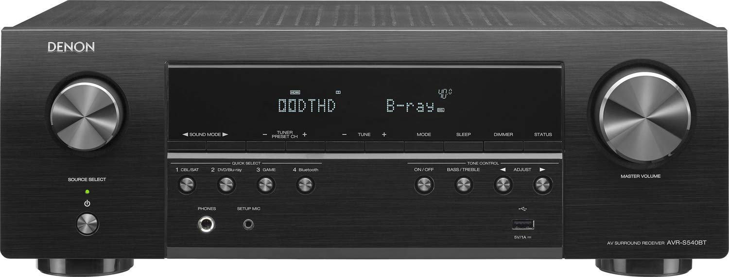 Denon AV Receiver Audio & Video Component Receiver BLACK (AVRS540BT) (Renewed) by Denon (Image #1)