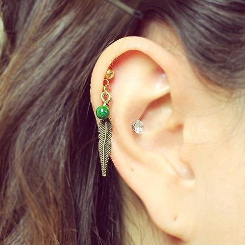 ff713c23ecba5 Amazon.com: Gold feather dangle cartilage earring, helix earring ...