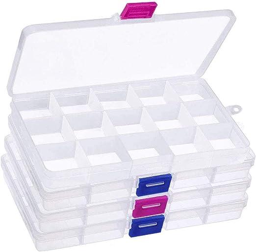 4pcs Caja de Almacenamiento con Compartimentos, 60 Rejillas Desmontables Caja Almacenamiento de Cuentas, Cajas Organizadoras de Aretes Plástico para Coser Artesanías de Joyería (17,5 x 10 x 2,5 cm): Amazon.es: Hogar