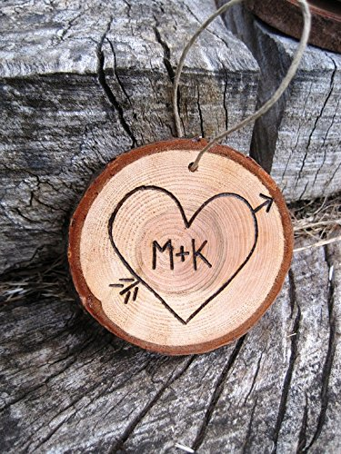 Amazon Com Custom Engraved Initial In Heart Ornament Perfect For Couples First Christmas Handmade