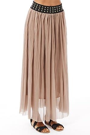 Para mujer Summer falda plisada de Maxi de chifón de traje de ...