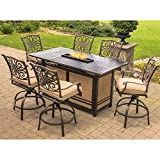 Hanover TRAD7PCFPBR Traditions 7-Piece High-Dining Set in Tan with 30,000 BTU Fire Pit Table Outdoor Furniture