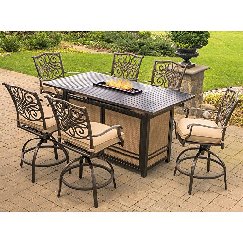 Hanover TRAD7PCFPBR Traditions 7-Piece Rust-Free Aluminum Outdoor Patio High Dining Set with 6 Swivel Chairs, Natural Oat Tan Cushions and 30,000 BTU Rectangular Fire Pit - Counter Height Dining Furniture