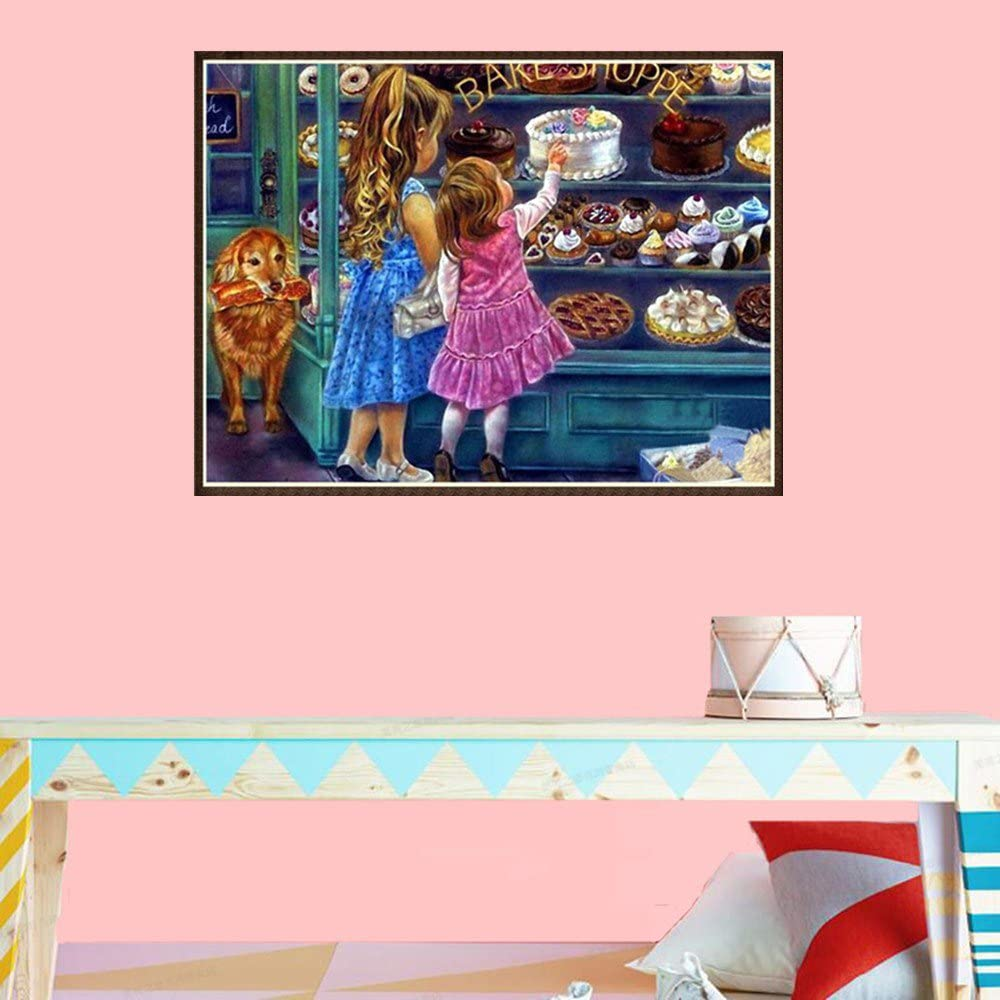 NLGToy 5D Embroidery Paintings Rhinestone Pasted DIY Diamond Painting Cross Stitch,Rhinestone Embroidery Pictures Arts Craft for Home Wall Decoration,Colorful 7 Color