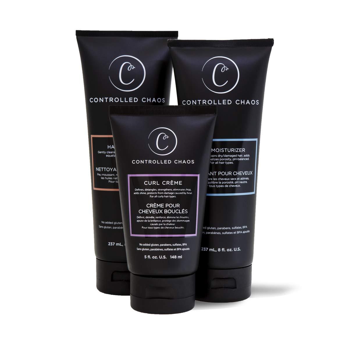 Controlled Chaos Bundle Package: Hydrating Shampoo, Cleansing Conditioner and Curl Defining Cream - Three in One Pack for All Types of Curl Control - As Seen on Shark Tank