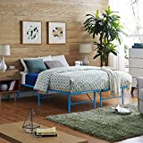 Modway Horizon Queen Bed Frame In Light Blue - Replaces Box Spring - Folding Portable Metal Mattress Bed Frame With Storage - Low Profile - Heavy Duty