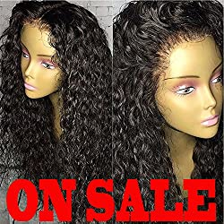 Brazilian Remy Hair 130% Density Full Pre Plucked Natural Hairline Deep Curly Long Human Hair Lace Front Wigs for African American Black Women with Baby Hair 18inch