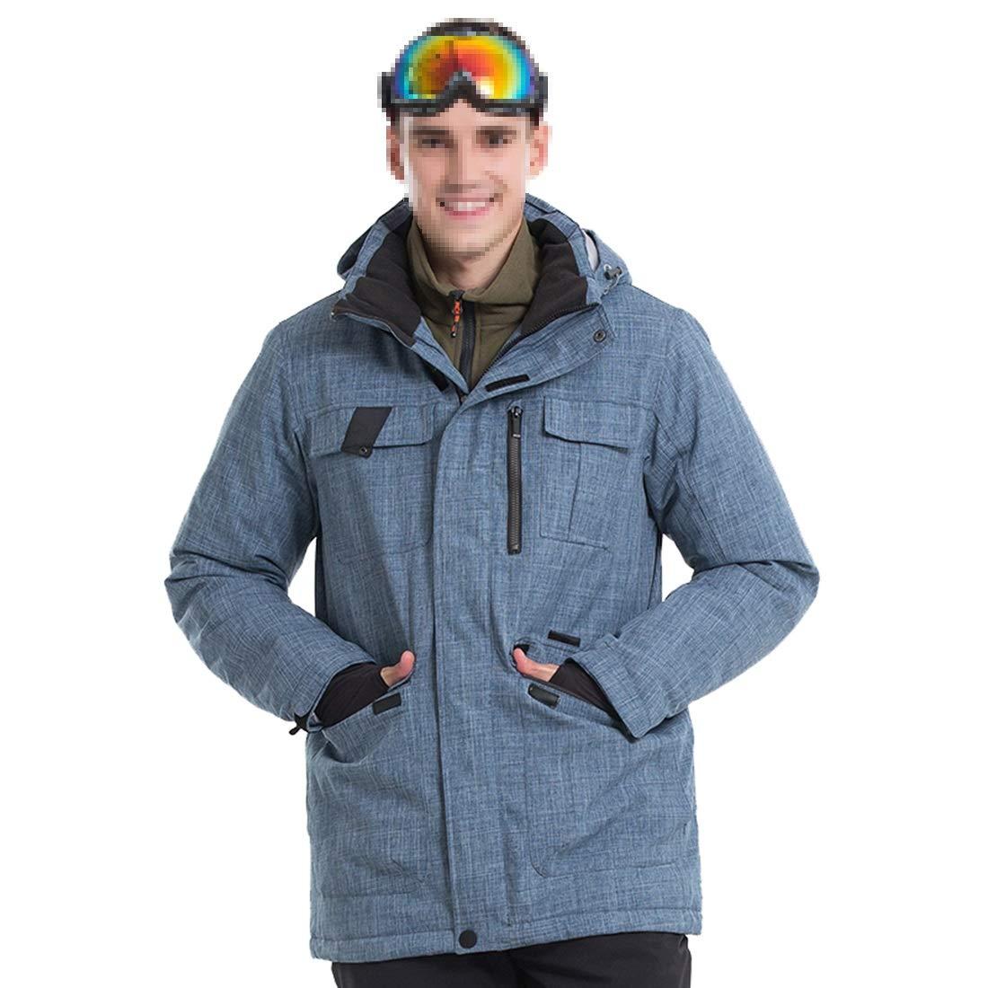 LilyAngel スノーアウトハイキングのための暖かくて防風性の高いメンズジャケットスキースーツ 青 Large