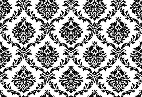 - Laeacco Vintage White Black Damask Wall 8x6.5ft Vinyl Photography Background Plain Style Personal Artistic Portrait Wedding Shoot Backdrop Indoor Decors Wallpaper Studio Props Nostalgia