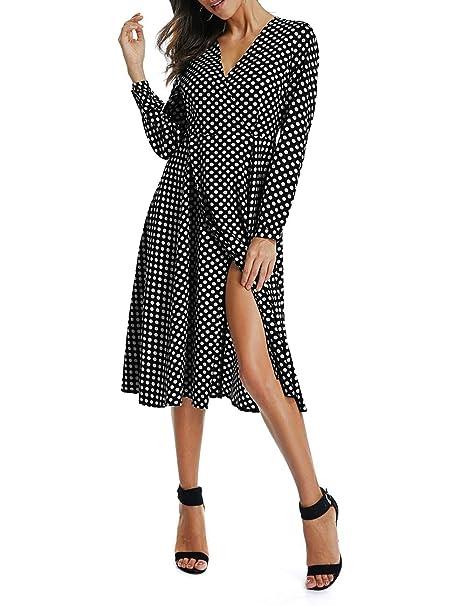 4eda6730a1 W-GRACE Women Boho Polka Dots Deep V Neck Wrap Dress Long Sleeve Slit  Chiffon