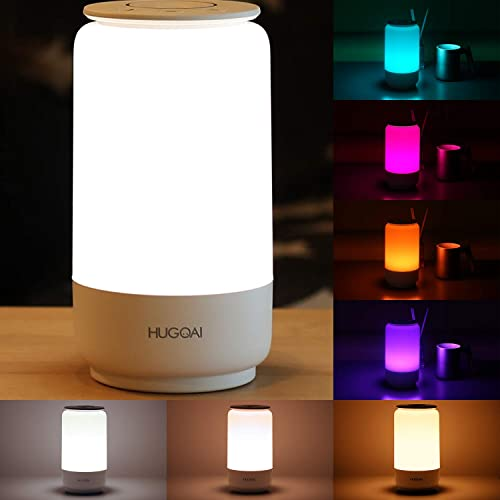 HUGOAI LED Table Lamp, Bedside Lamp, Nightstand Lamps for Bedrooms with Dimmable Whites, Vibrant RGB Colors and Memory Function, No Flicker – White