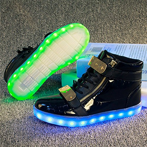 Amantes Segundo de Shoes LED los la Cuero iluminan Primavera de Gancho Bucle Sneakers para y Zapatos Walking Los Comfort dx7qU1d