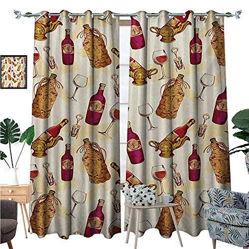 Winery Blackout Window Curtain Vintage Pattern with Glass Bottle Corkscrew Country Restaurant Table Customized Curtains W120 x L84 Fuchsia Ruby Pale Brown