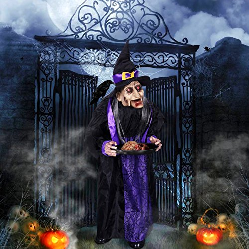 "[Witches for Halloween, PBPBOX 43"" Halloween Animated Witch Props Talking Witch Standing Hanging Witch with Light-up Eyes Haunted House Yard Scary Outdoor Decoration] (Outdoor Witch Decorations)"