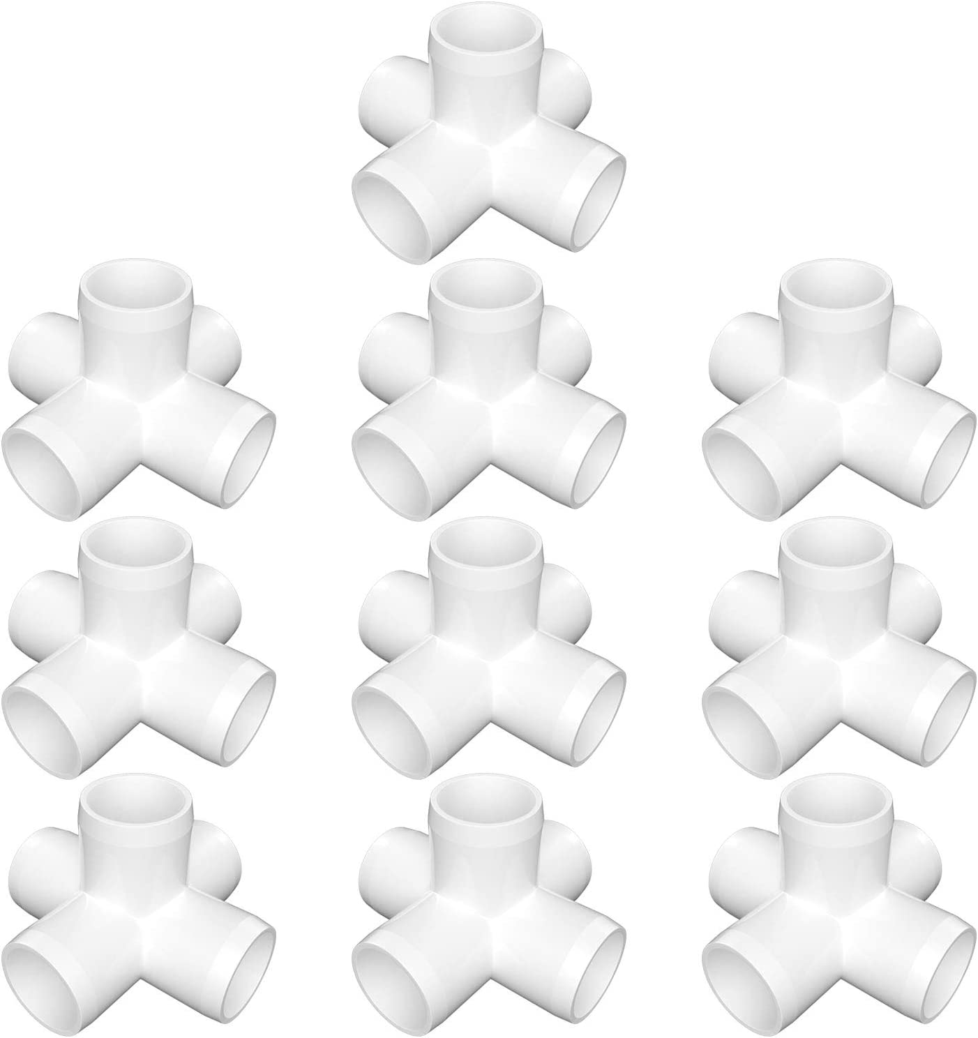 "letsFix PVC Elbow Fittings 3/4"", 3-Way/4-Way/5-Way/Tee/Cross/45 Degree Elbow/90 Degree Elbow for SCH40 3/4"" PVC Pipe - Build Heavy Duty PVC Furniture, Plumbing Projects Available, White [Pack of 10]"