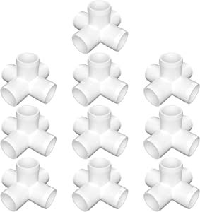 letsFix 5-Way 3/4 inch PVC Fitting, PVC Elbow Fittings PVC Pipe Connectors - Build Heavy Duty Furniture Grade for 3/4 inch PVC Pipe, White [Pack of 10]