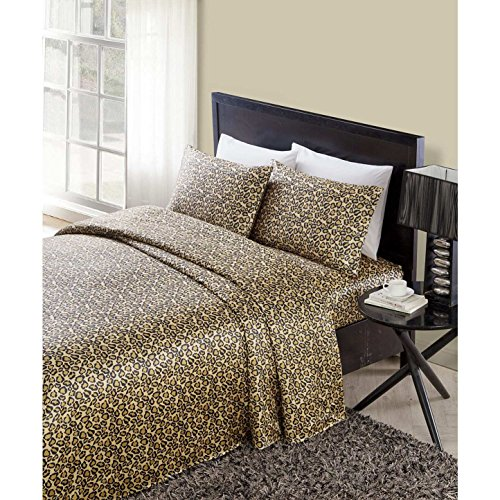 Leopard Satin Sheets - 4 Piece Brown Black Leopard Themed Satin Sheets King Set, Beautiful Luxurious African Safari, Zoo, Jungle Exotic Wild Animal Print Bedding, Eye-Catching Rich Look, Soft Polyester, For Kids Bedrooms