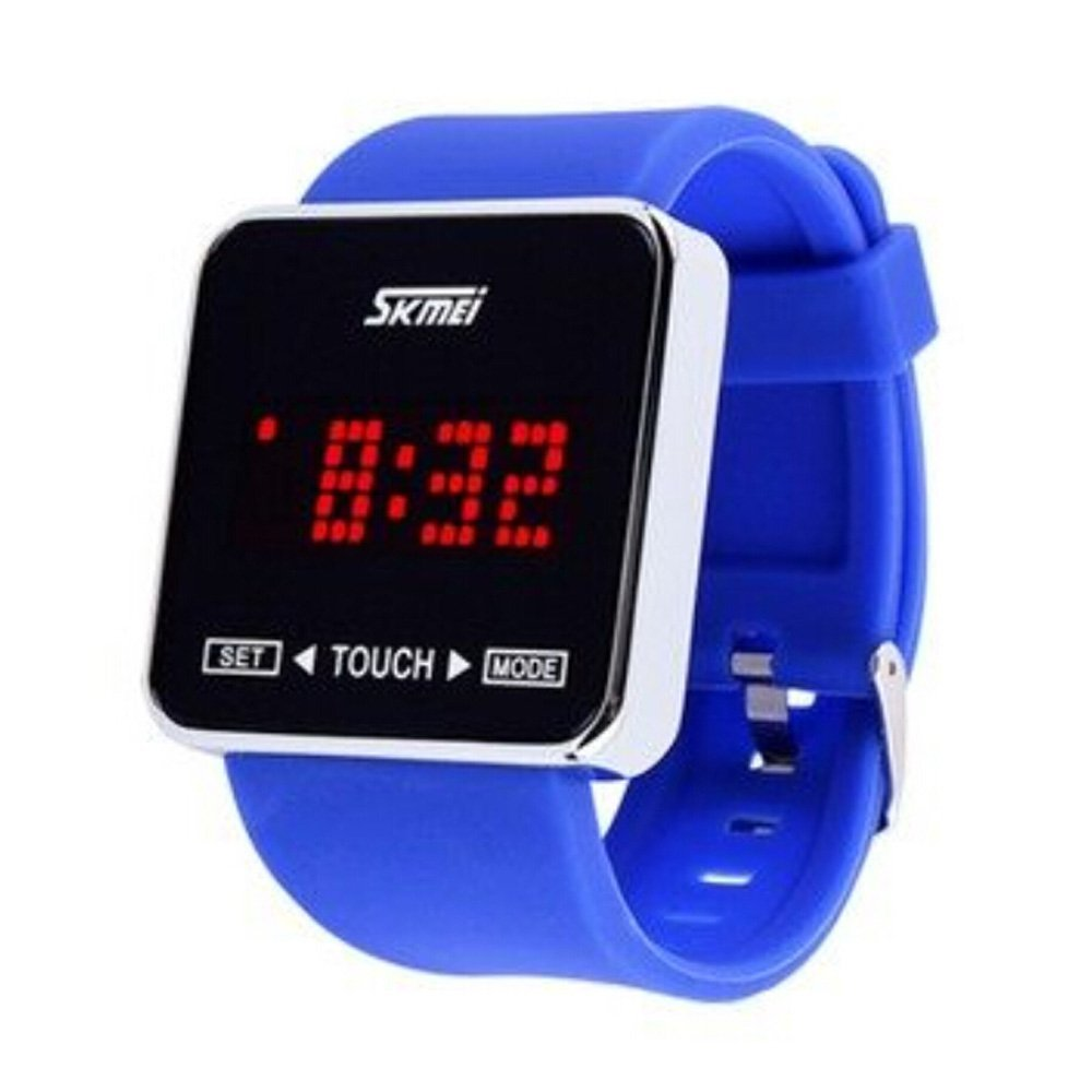 SKMEI Touch Screen Jelly Rubber Band Digital LED Waterproof Boys Girls Sport Casual Wrist Watches Blue