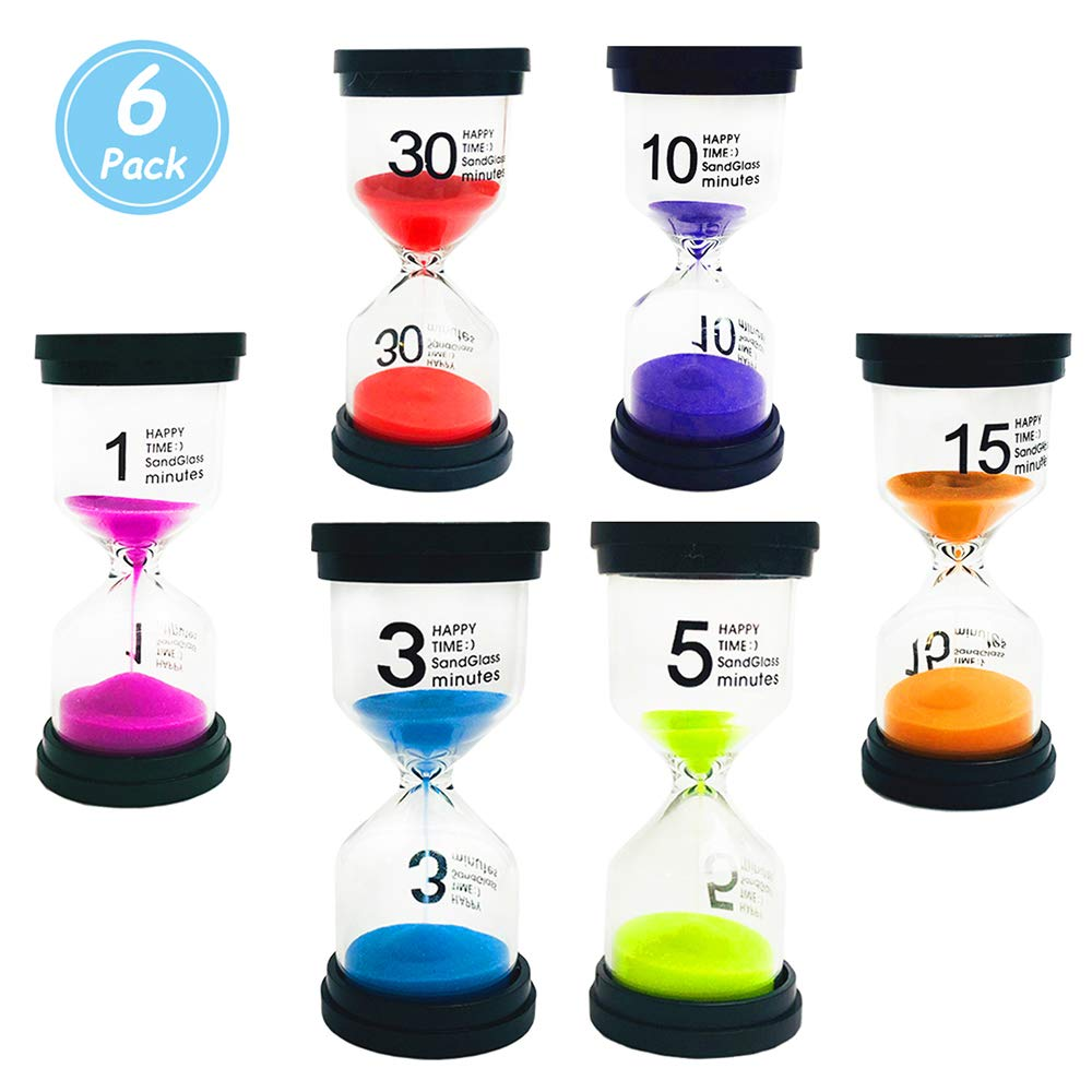 Huston Lowell Sand Timer,Hourglass Timer Sets, 6 Colors Sandglass Clock Timer 1min/3mins/5mins/10mins/15mins/30mins/ for Games Classroom, Kitchen, Games, Brushing Timer, Home Office Decoration Timers