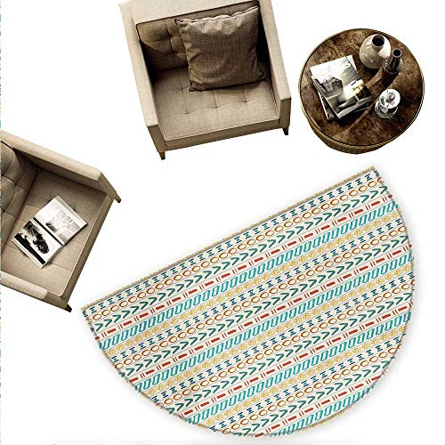 (Striped Semicircular Cushion Ethnic Cultural Striped Boho Motif Traditional Southwestern First Nations Artisan Design Entry Door Mat H 55.1