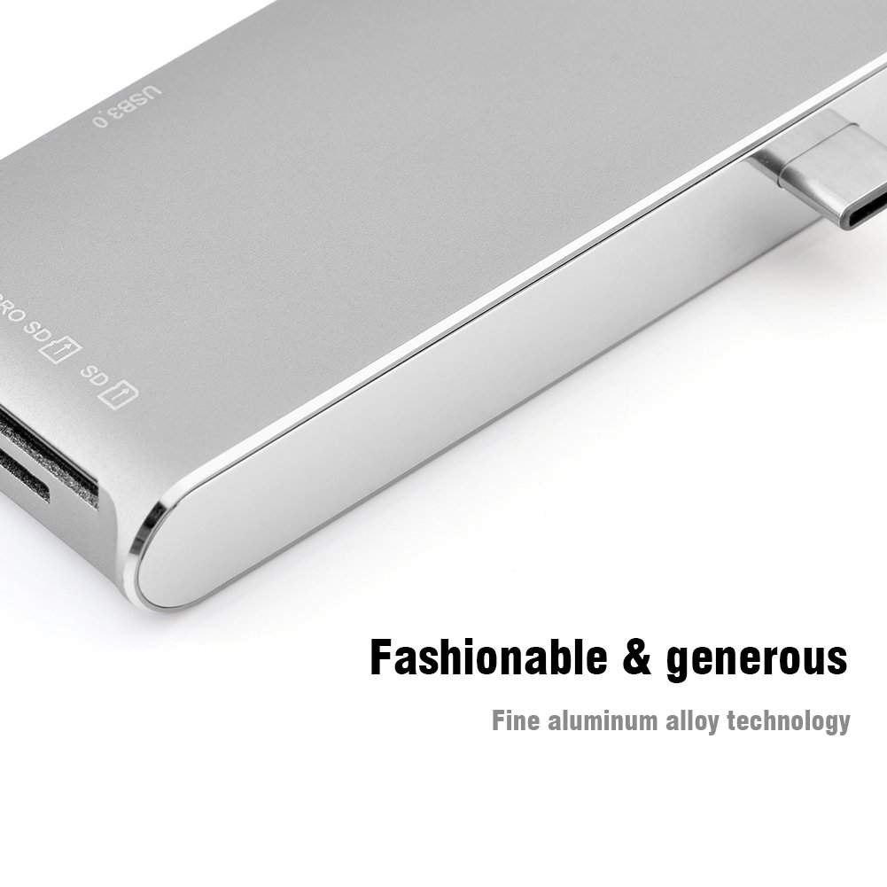 Fosa 6 In 1 USB3.1 Type-C to 2 Port USB 3.0 Hub TF / SD Card Reader with 4K HDMI & USB-C PD Port(Silver) by fosa (Image #8)