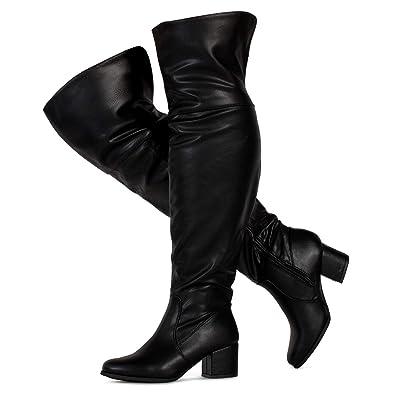 285275ca9f14 RF ROOM OF FASHION Women s Wide Calf Over The Knee Chunky Heel Stretch  Boots Black PU