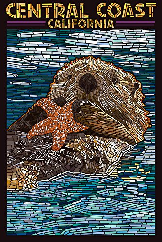 Central Coast, California - Sea Otter and Starfish Mosaic Art Print Travel Poster)
