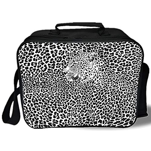 Insulated Lunch Bag,Abstract Home Decor,Illustration Pattern Leopard Skins and Heads Animal Print Wildlife Decorative,for Work/School/Picnic, Grey