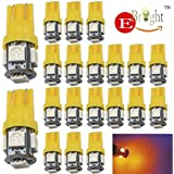 EverBright 20-Pack White T10 194 168 2825 W5W 5050 5-SMD LED Bulb For Car Replacement Interior Lights Clearance Wedge Dome, Trunk, Dashboard Bulb License Plate Light Lamp DC 12V