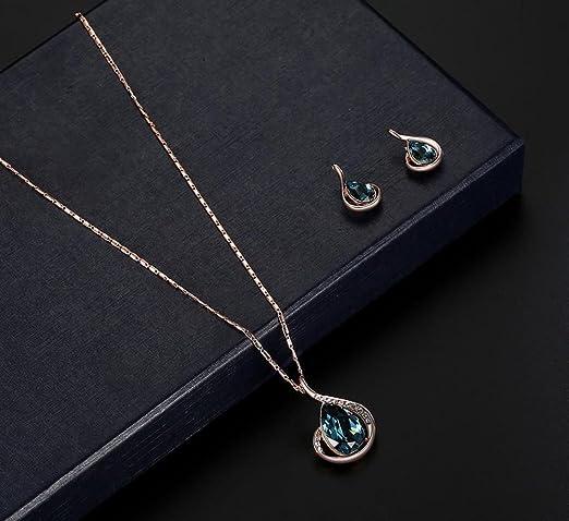 3ff4765f4f90 Cosanter 1Set Mezcla Pendientes y Collares de Imitación de Cristal de Diseño  de Gotitas de Agua para las Mujeres Color Azul  Amazon.es  Hogar
