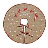 "Merry Christmas Tree Skirt White Snowflake Burlap Tree Skirt for Xmas Decor Festive Holiday Decoration, With Red and Green Plaid and Gold Glitter Decor (30"")"