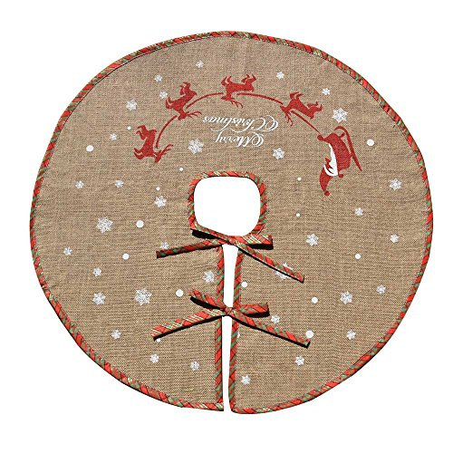 AmaJOY 48 Inch Merry Christmas Tree Skirt White Snowflake Burlap Tree Skirt for Xmas Decor Festive Holiday Decoration, With Red and Green Plaid Edge