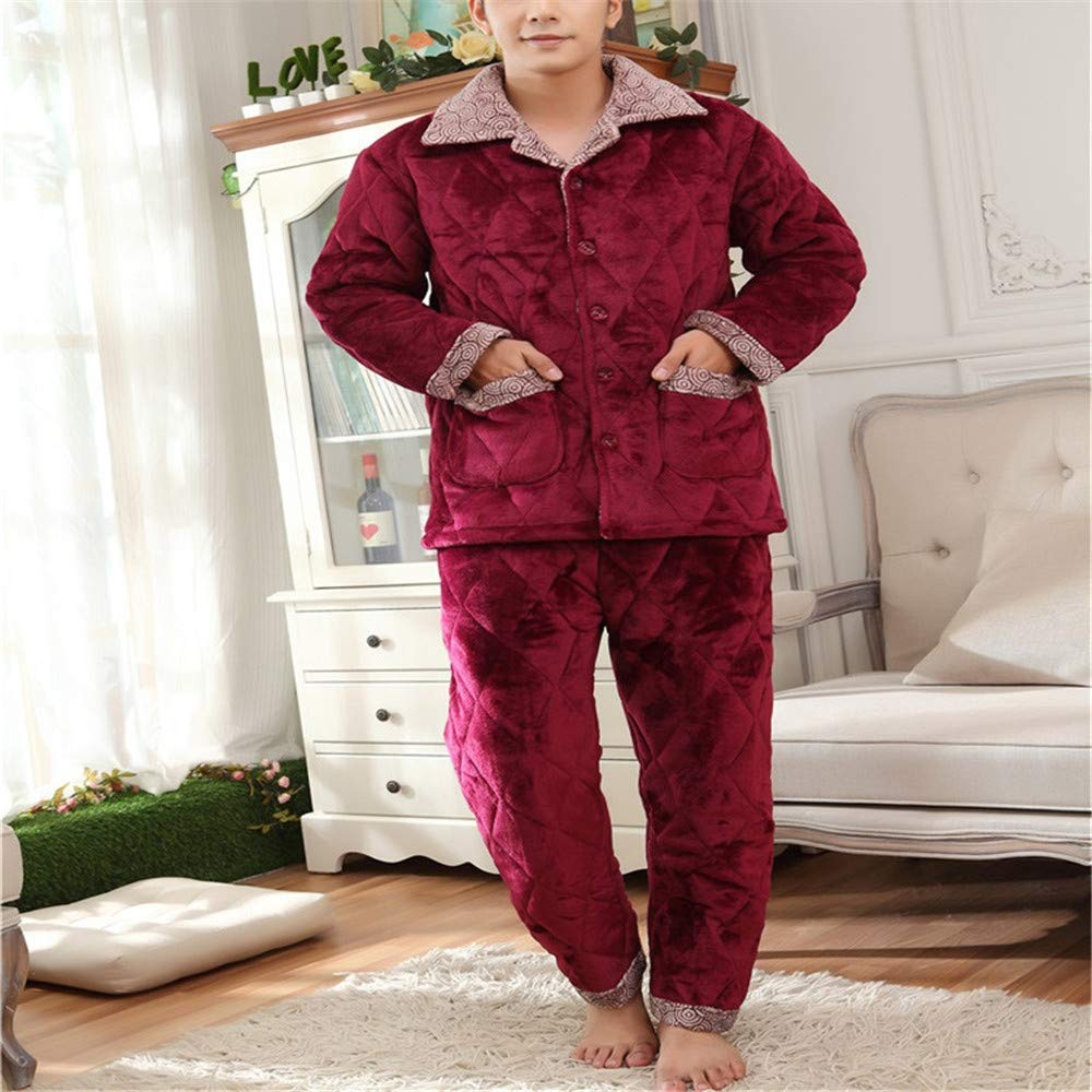 Lonimor Autumn Winter Three-Layer Thick Flannel Quilted Pajamas Men Home Service Suit