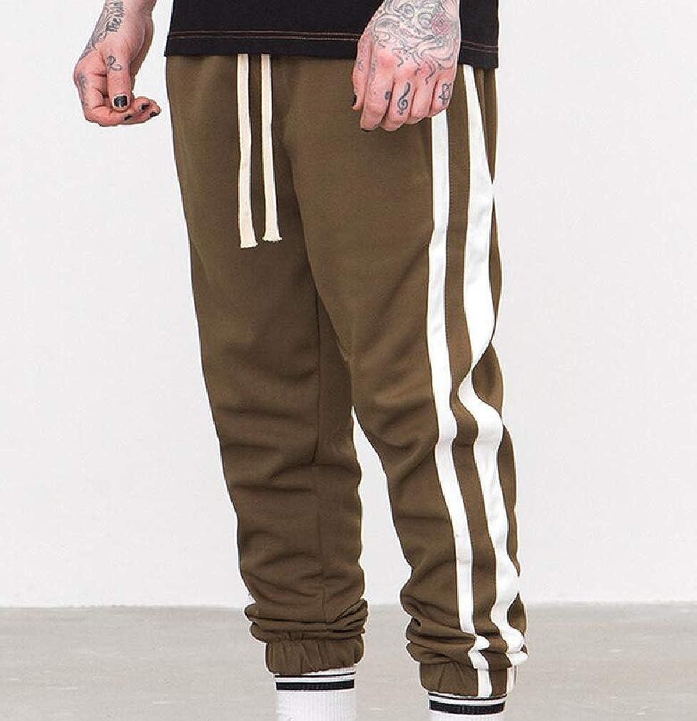 Lutratocro Mens Elastic Waist Casual Sweatpant Sport Stripe Jogger Pants