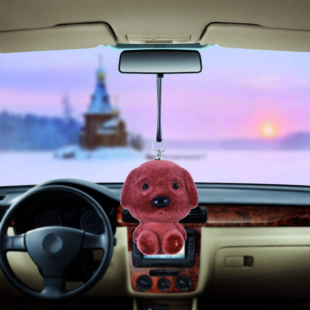 Automotive Pendant Car Rear View Mirror Charms Accessories Car Decorations Hanging Ornaments Dog Cute Decoration of Brooches Key Chains Light Pink