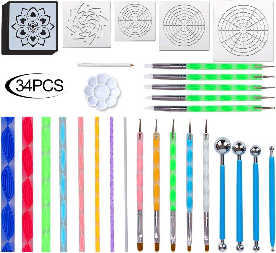 Mandala Dotting Tools - Juego de 34 piezas para pintar rocas Mandala