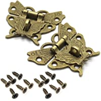 RAYNAG Set of 2 Butterfly Latch Hasp & Screws, Small Wooden Jewelry Boxes Suitcase Cabinet Lock Latches, Bronze, Antique…