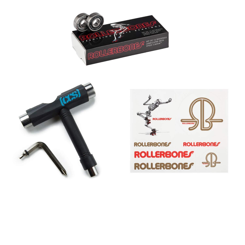 RollerBones Bearings 16 Pack, Black CCS Skate Tool Skating Dancing Skeleton Sticker